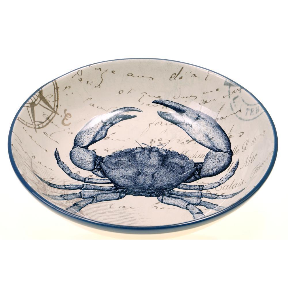 Coastal Postcards Blue Pasta and Salad Serving Bowl by