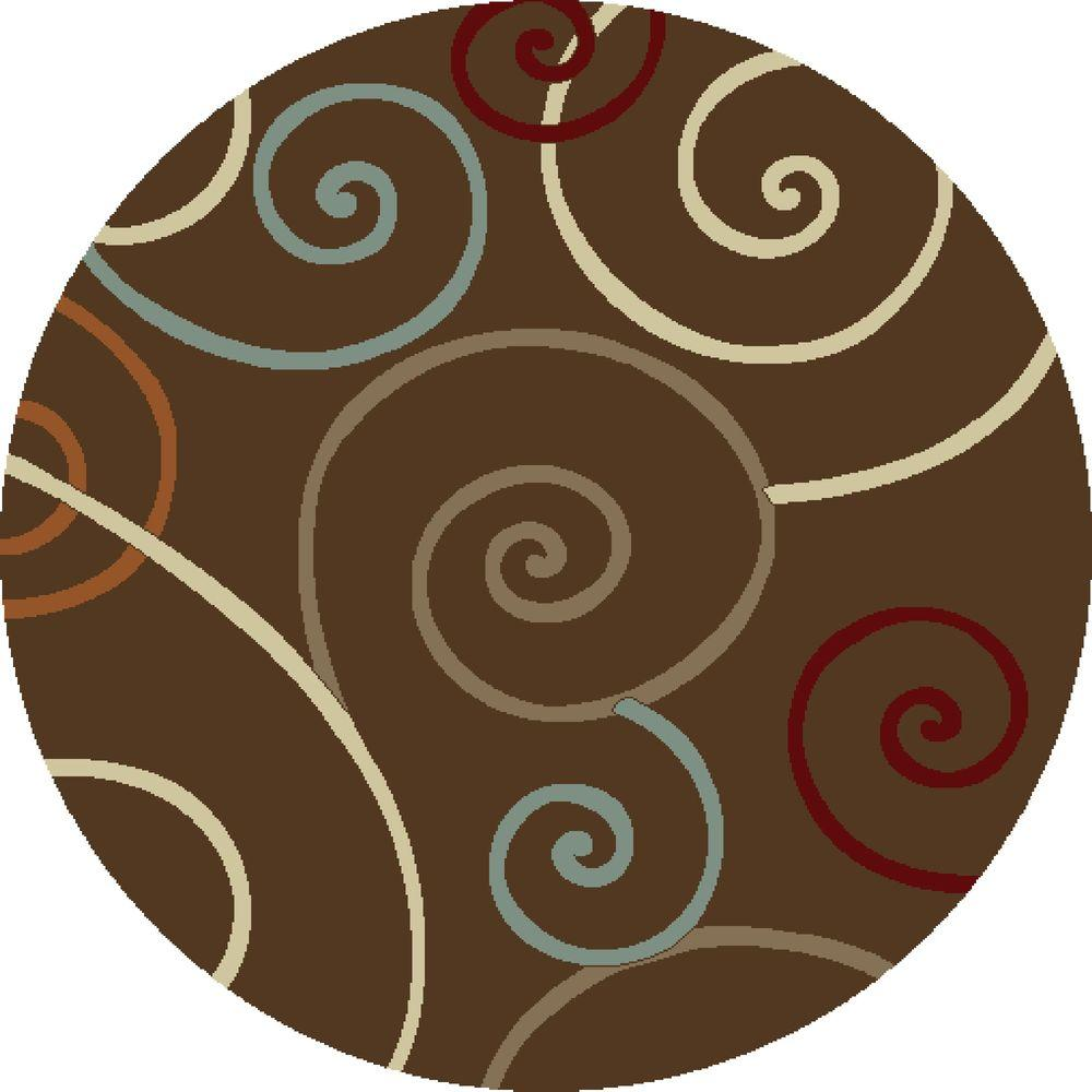 Chester Scroll Brown 7 ft. 10 in. Round Area Rug
