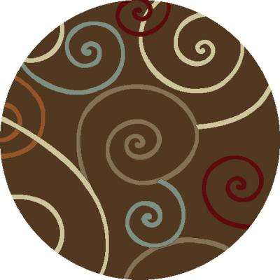 Chester Scroll Brown 8 ft. Round Area Rug
