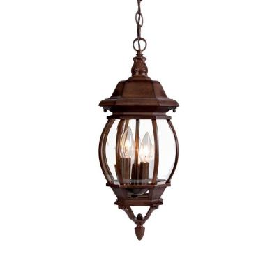 Chateau Collection 3-Light Burled Walnut Outdoor Hanging Lantern Light Fixture