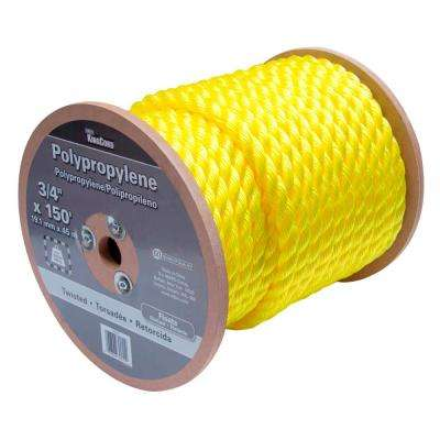 3/4 in. x 150 ft. Yellow Twisted Polypropylene Rope - 1,090 lbs. Safe Work Load - Hanked