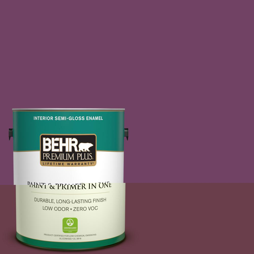 Behr premium plus 1 gal 690d 7 radicchio semi gloss enamel zero voc interior paint and primer for Behr interior paint and primer in one
