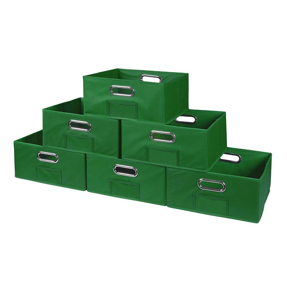 Cubo 12 in. W x 6 in. H Green Folding Fabric Bin (6-Pack)