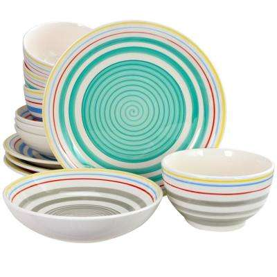 Moody Blues 12-Piece Assorted Colors Double Bowl Dinnerware Set