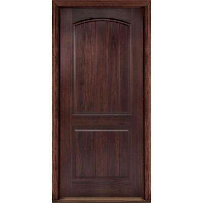 36 in. x 80 in. AvantGuard Sierra 2-Panel Left Hand Outswing Finished Smooth Fiberglass Prehung Front Door No Brickmold