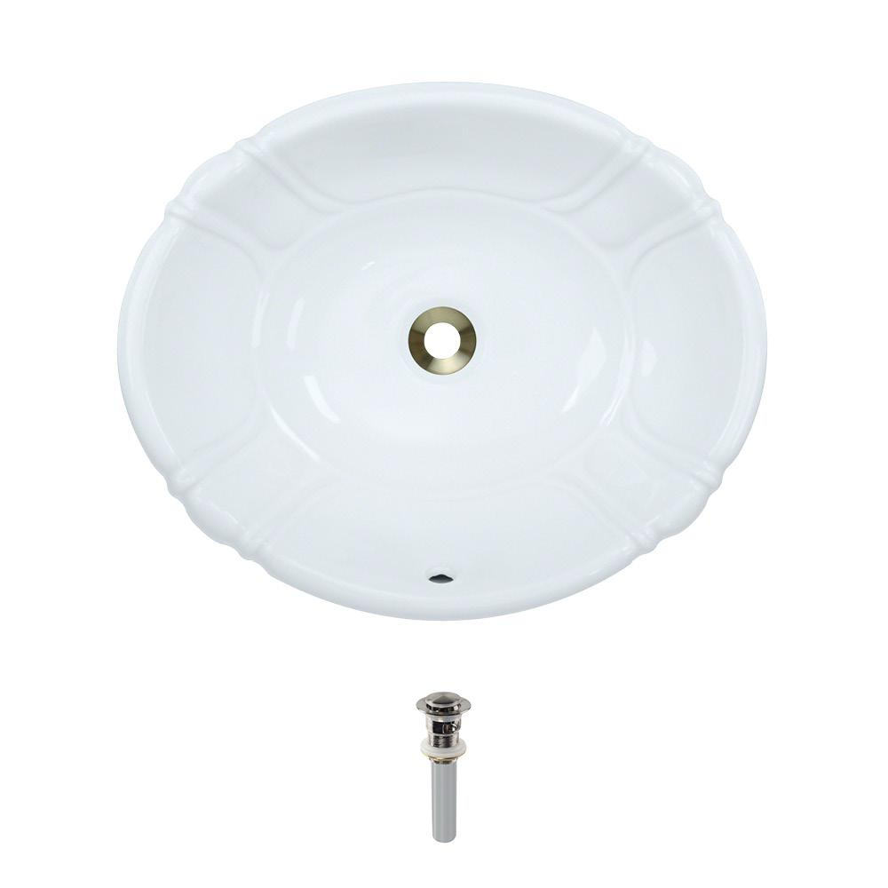 Dual-Mount Porcelain Bathroom Sink in White with Pop-Up Drain in Brushed