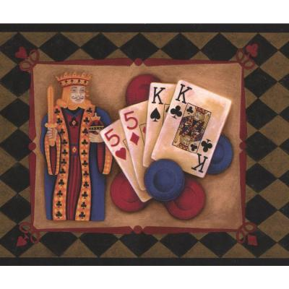 Poker Vintage Dark Green Plaid with Poker Combinations Prepasted Wallpaper Border
