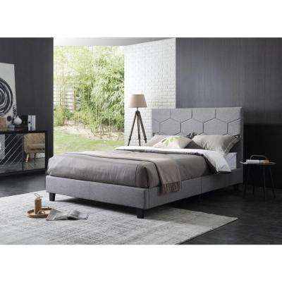 Upholstered Panel Bed with Polygon Embossed Gray Queen-Size Headboard