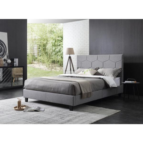 Hodedah Upholstered Panel Bed with Polygon Embossed Gray Queen-Size Headboard
