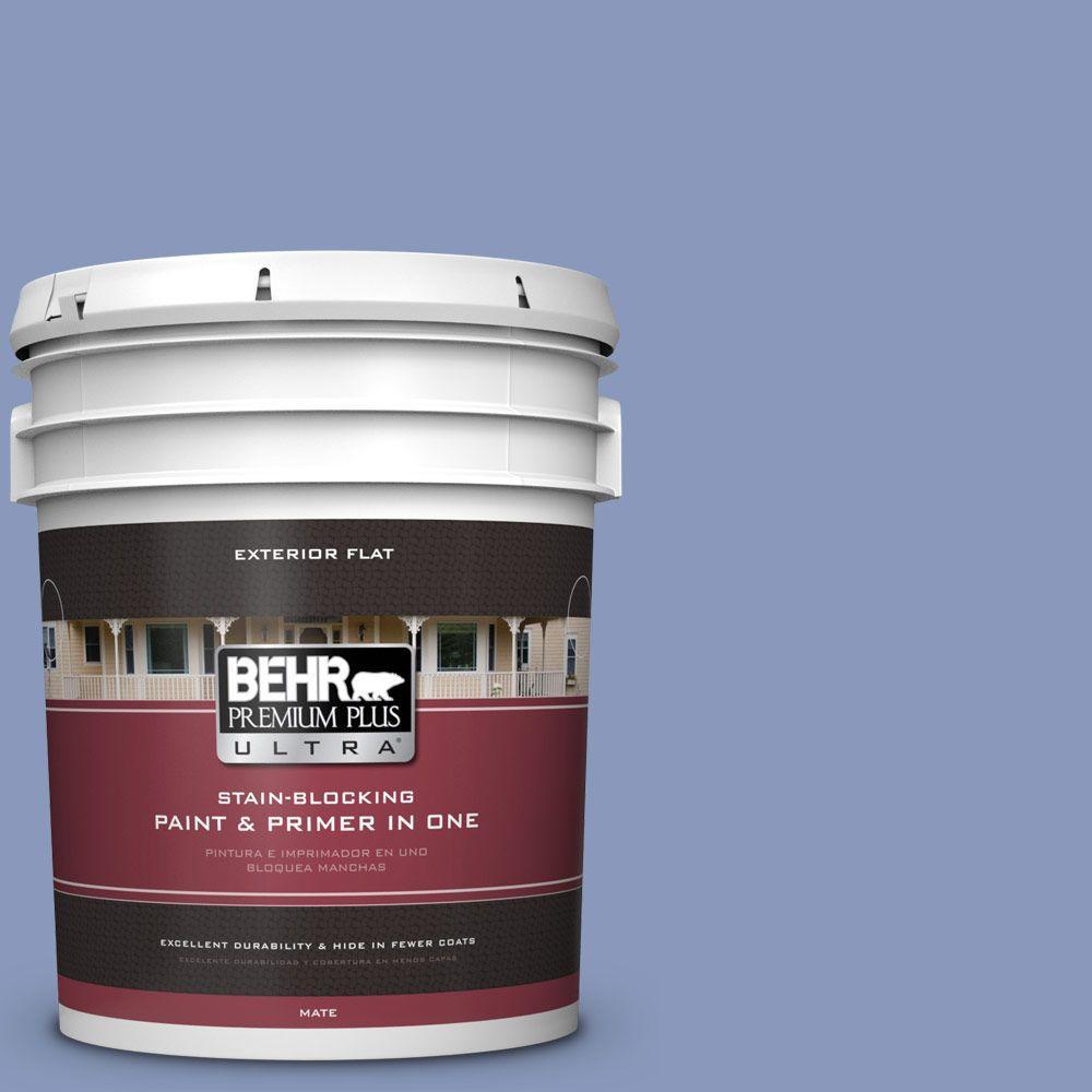 Behr Premium Plus Ultra 5 Gal 610d 5 Blueberry Popover Flat Exterior Paint 485405 The Home Depot