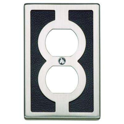 Zanzibar Collection 1 Duplex Outlet Wall Plate - Black Leather and Brushed Nickel