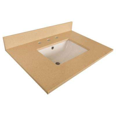 Windsor 30.2 in. W x 21.8 in. D Quartz Single Basin Vanity Top in Beige with White Basin