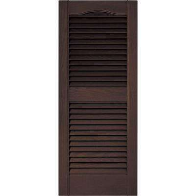 15 in. x 36 in. Louvered Vinyl Exterior Shutters Pair in #009 Federal Brown