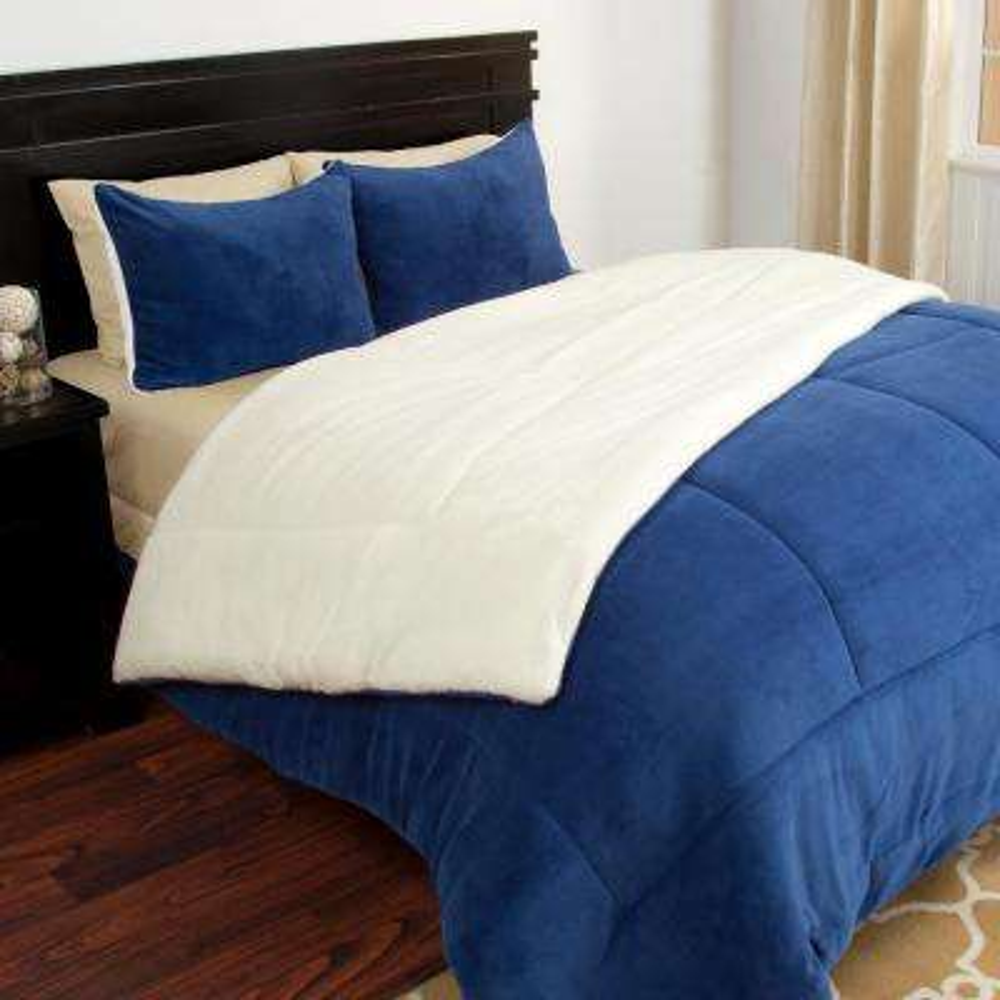3-Piece Navy Sherpa-Fleece Full/Queen Comforter Set