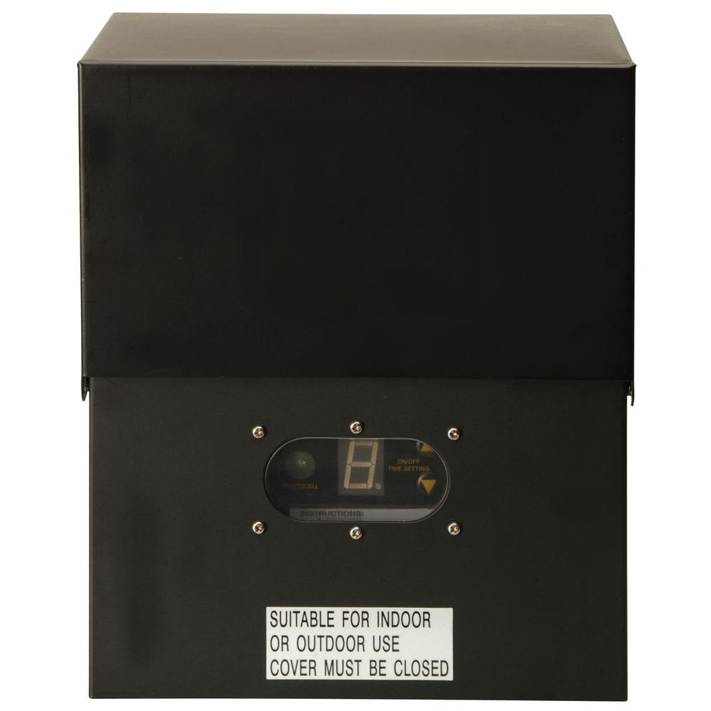 Power Pack Low-Voltage 600-Watt Black Outdoor Lighting Transformer with