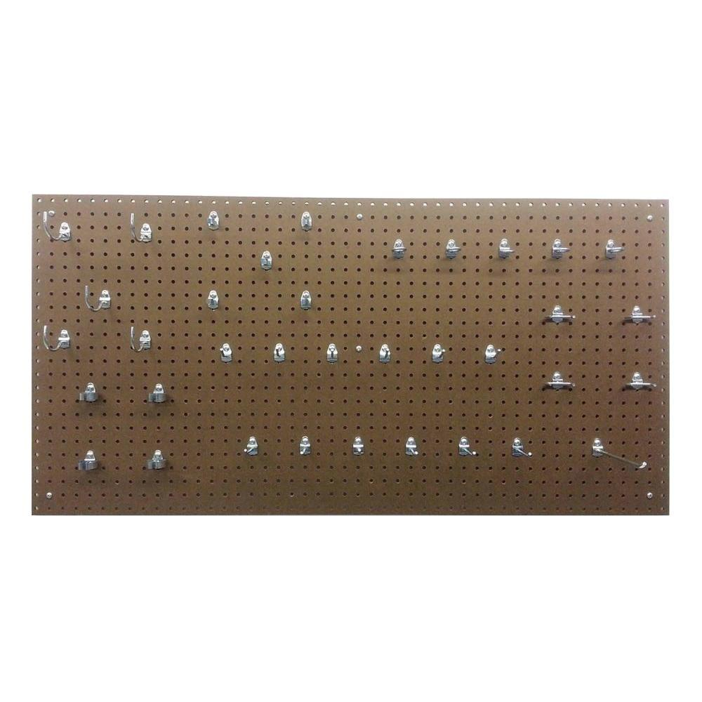 Triton Products True Tempered Hardboard Pegboard with 36 Piece Locking Peghook Assortment