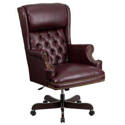 High Back Traditional Tufted Burgundy Leather Executive Ergonomic Office Chair with Oversized Headrest and Arms