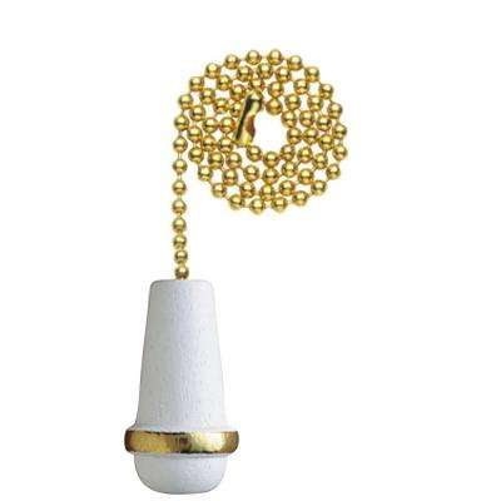 White Wooden Cone Pull Chain