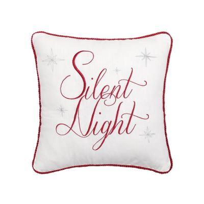 Silent Night Red Pillow 18 in. x 18 in.