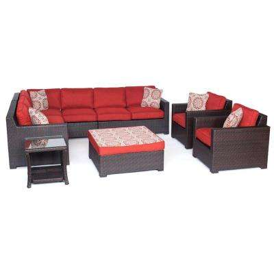Metropolitan Brown 8-Piece All-Weather Wicker Patio Seating Set with Autumn Berry Cushions