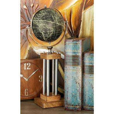 20 in. Black and Gold Globe Decor on Mahogany Brown and Silver Stand