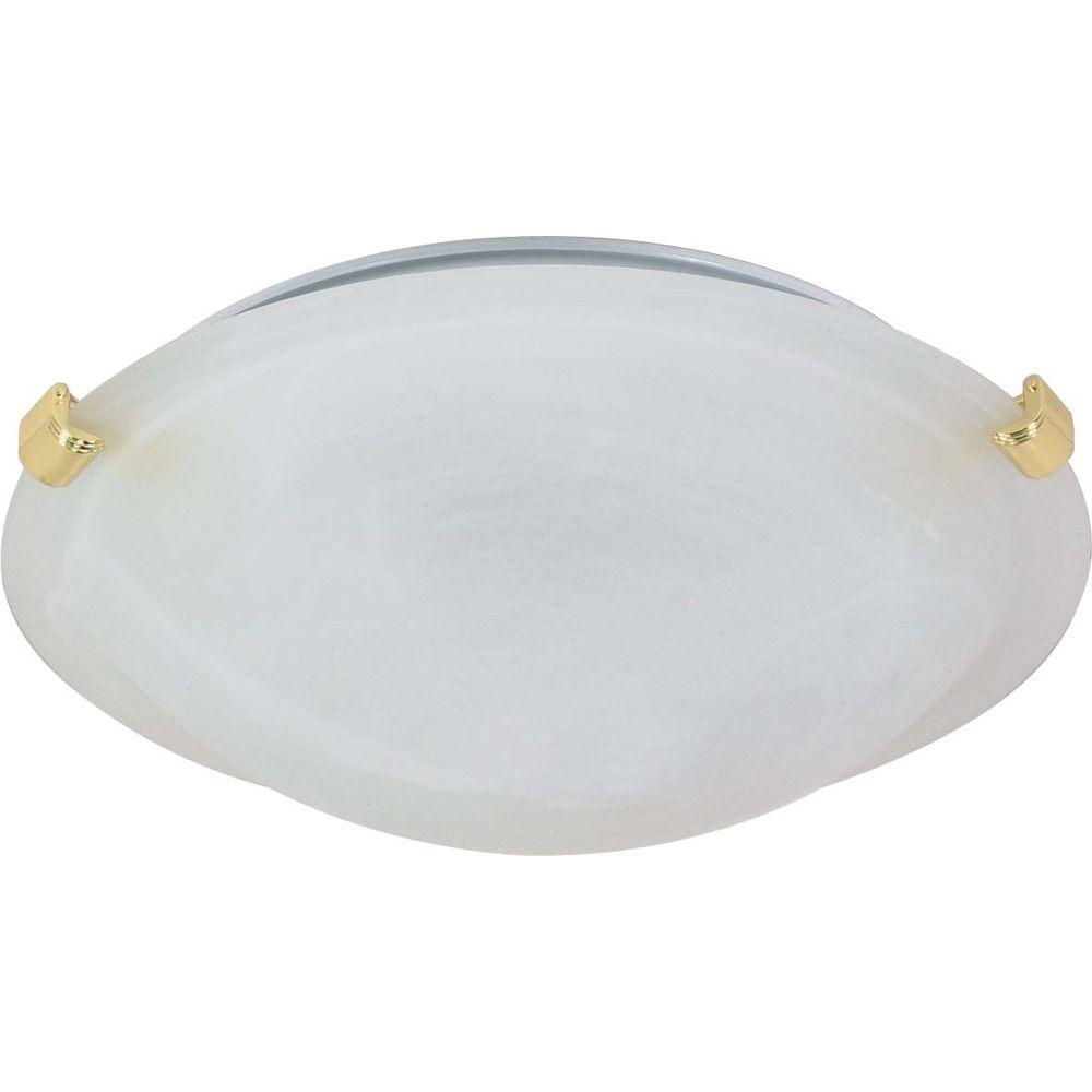1-Light Ceiling Polished Brass Incandescent Flush Mount