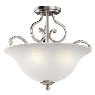 Camerena 3-Light Brushed Nickel Semi-Flush Mount Ceiling Light with White Scavo Glass