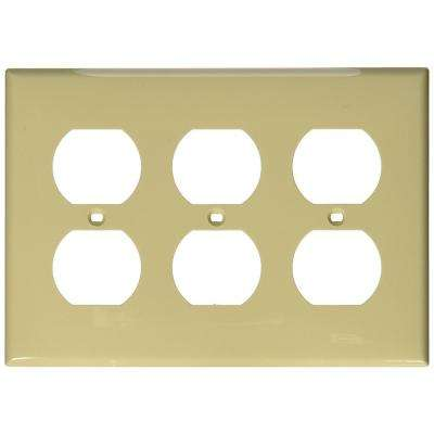 3-Gang 3 Duplex Receptacles, Standard Size Nylon Wall Plate - Ivory
