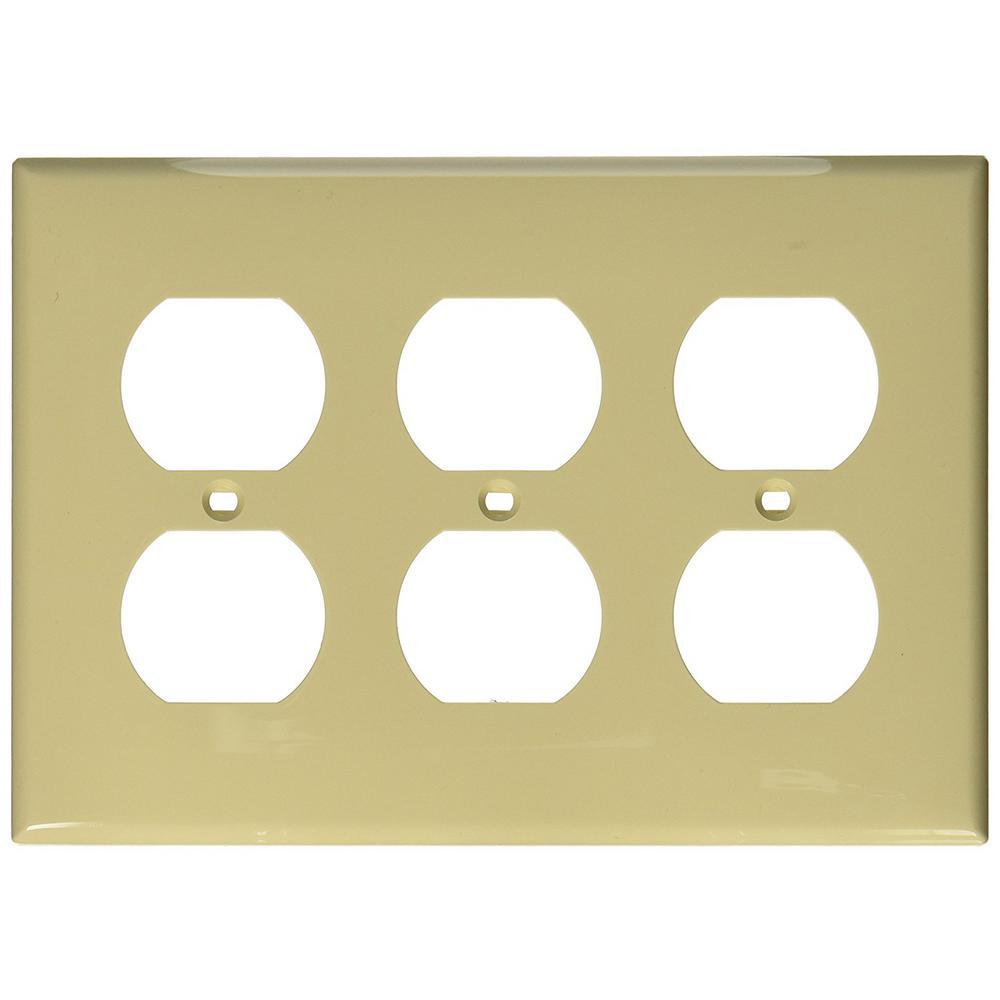 3-Gang 3 Duplex Receptacles, Standard Size Nylon Wall Plate - Ivory