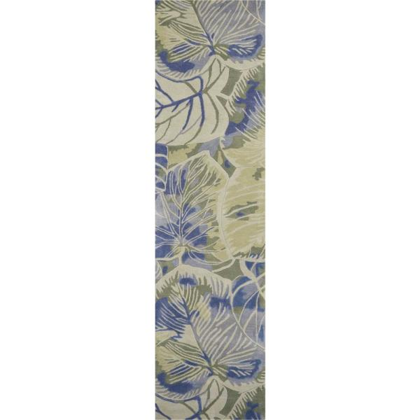 Homeroots Bernadette Blue Green 2 Ft X 10 Ft Floral Wool Indoor Outdoor Area Rug 353004 The Home Depot