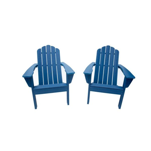 Marina Navy Poly Plastic Outdoor Patio Adirondack Chair (2-Pack)