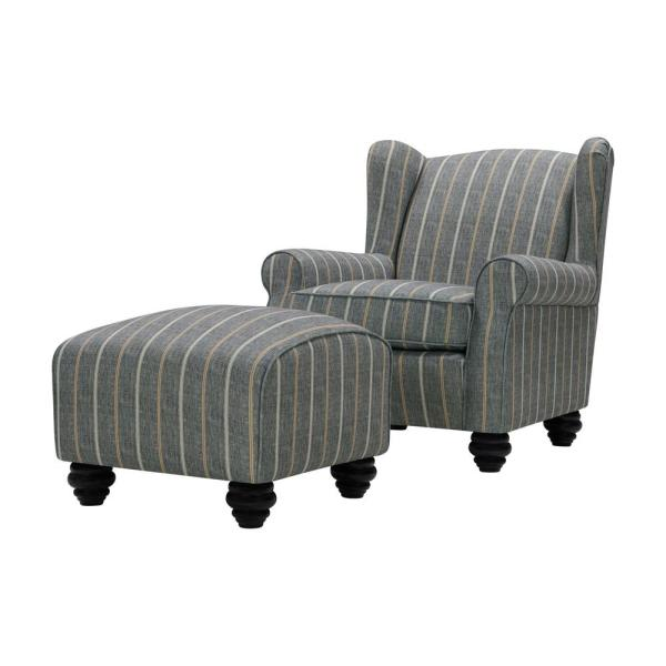 Handy Living Archie Charcoal and Tan Striped Fabric Wingback Chair and