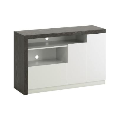 Hudson Court 47 in. Charcoal Ash with Pearl Oak Accents Engineered Wood TV Stand with 1-Drawer fits 50 in. TV