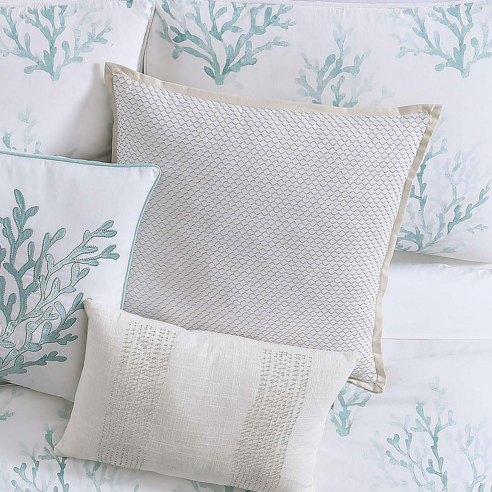 Oceanfront Resort Cove Large Square Pillow In White And Neutral