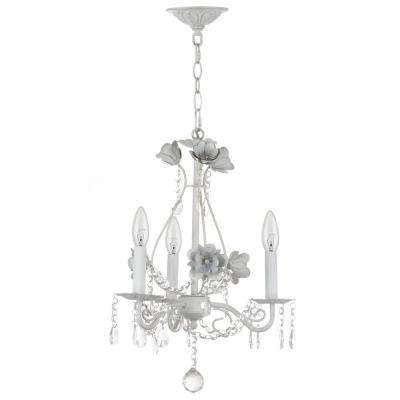 Tempest Floral 3-Light White Chandelier