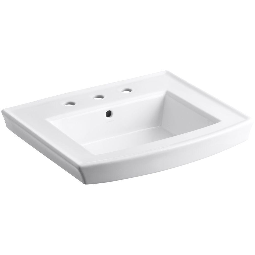 Beau Vitreous China Pedestal Sink Basin In White With Overflow Drain