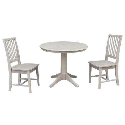 Olivia 3-Piece Oval Weathered Gray Dining Set with Mission Chairs
