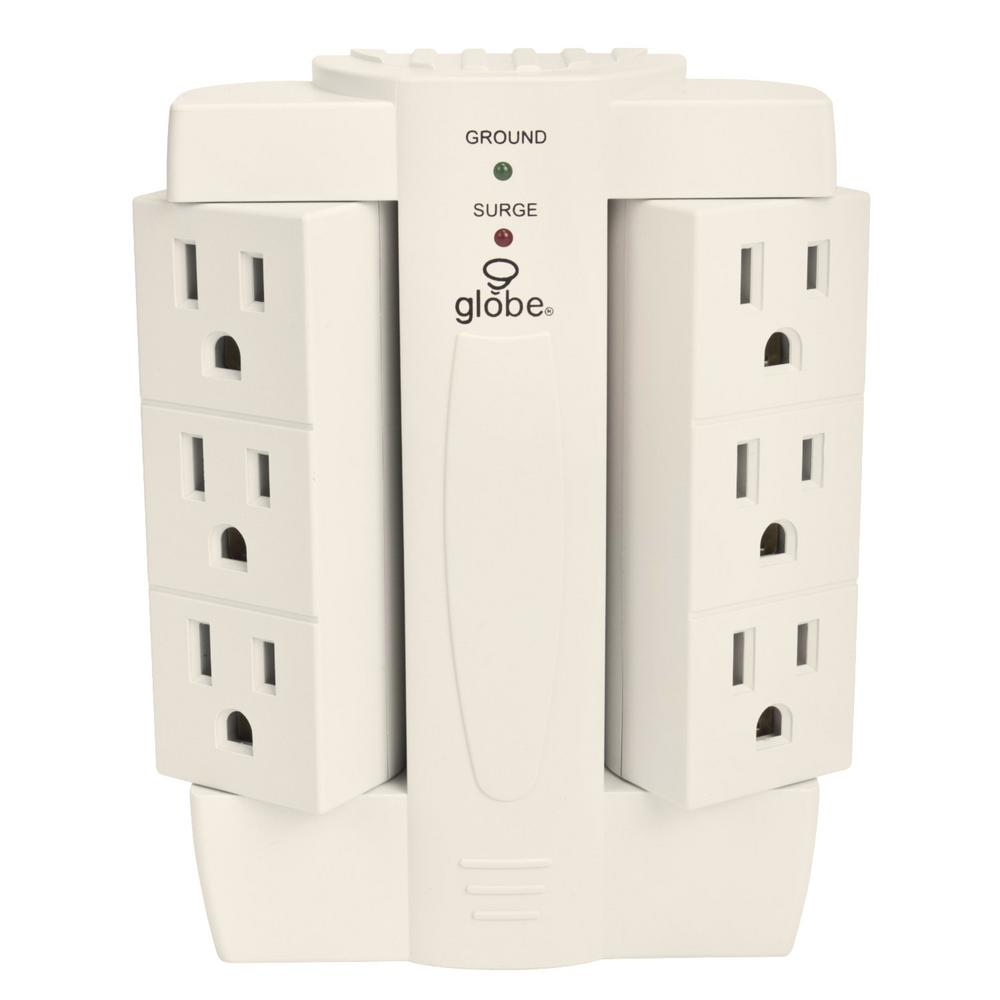 Globe Electric 6-Outlet Swivel Surge Protector White Wall Tap