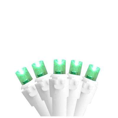 Set of 50 Green LED Wide Angle Christmas Lights on White Wire