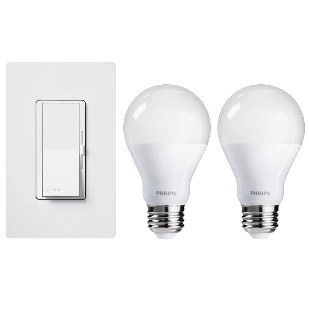 lutron diva 150 watt led dimmer with wall plate and 2 philips a19 led light bulbs dvwcl 2led kit. Black Bedroom Furniture Sets. Home Design Ideas