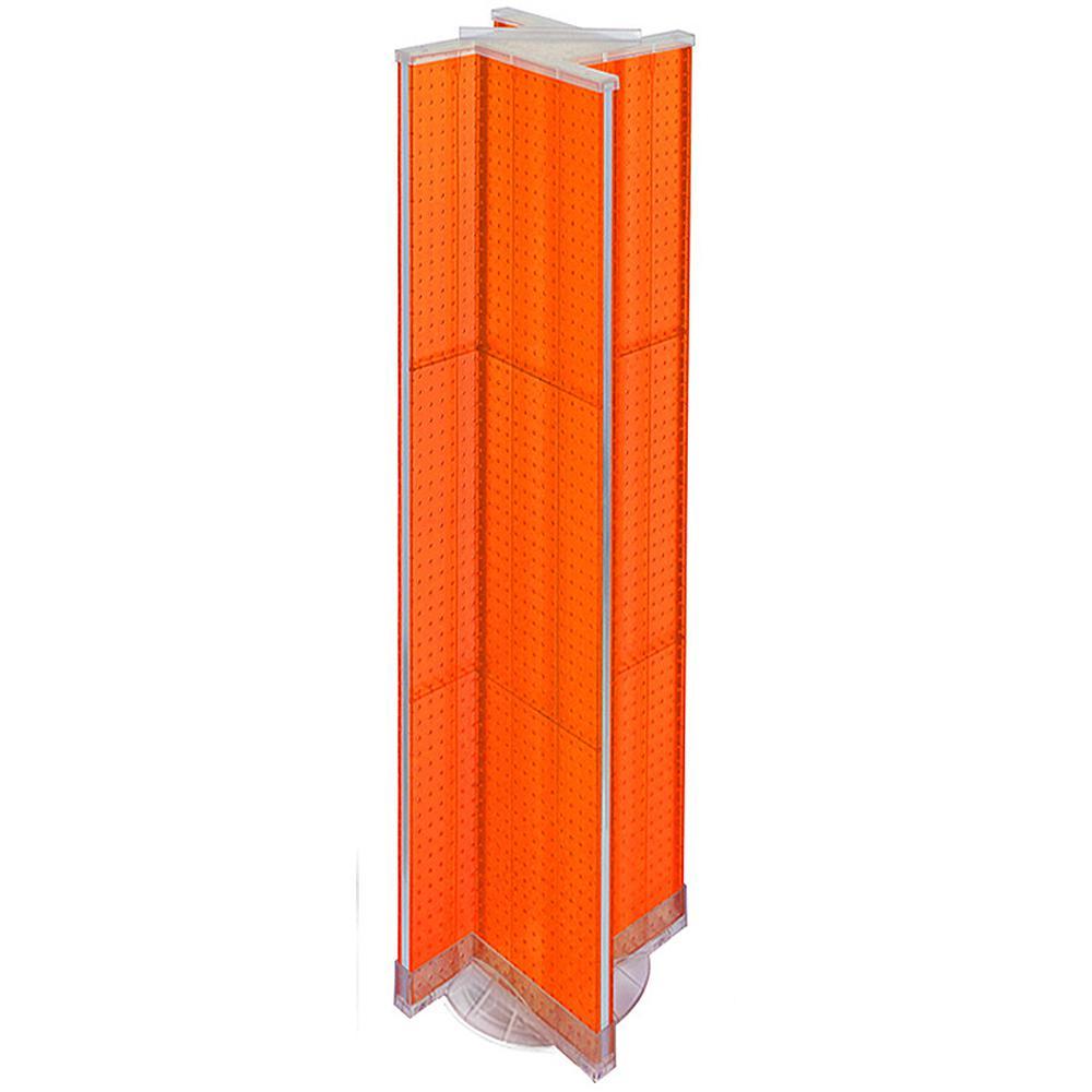 60 in. H x 13.5 in. W Pinwheel Pegboard Floor Display in Orange