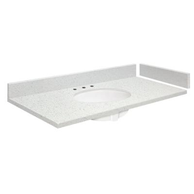34.25 in. W x 22.25 in. D Quartz Vanity Top in Milan White with White Basin and Widespread