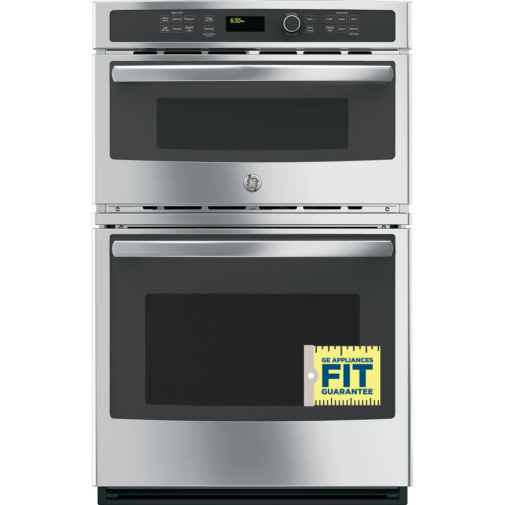 GE 27 in  Double Electric Wall Oven with Built-In Microwave in Stainless  Steel
