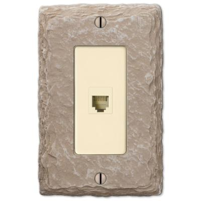 Faux Slate 1 Gang Phone Resin Wall Plate - Almond
