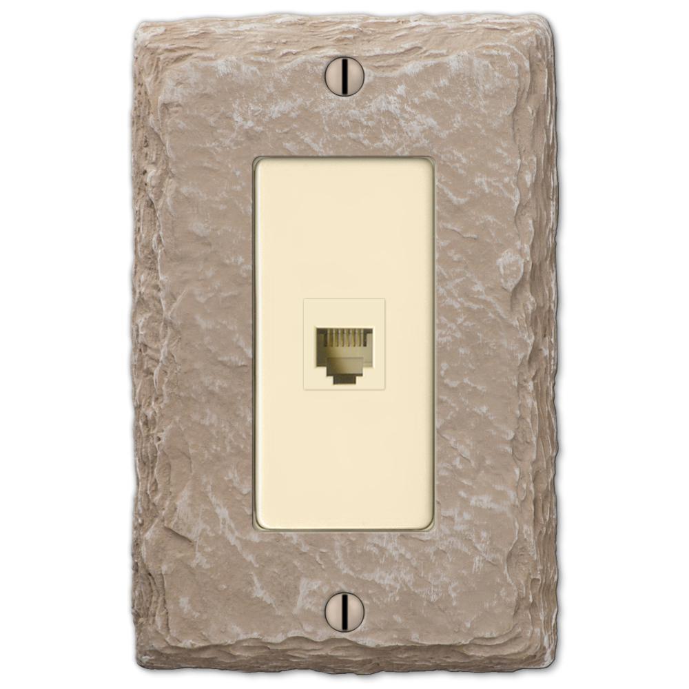 Faux Slate 1 Gang Phone Resin Wall Plate - Almond