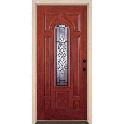 37.5 in. x 81.625 in. Lakewood Patina Center Arch Lite Stained Cherry Mahogany Left-Hand Fiberglass Prehung Front Door