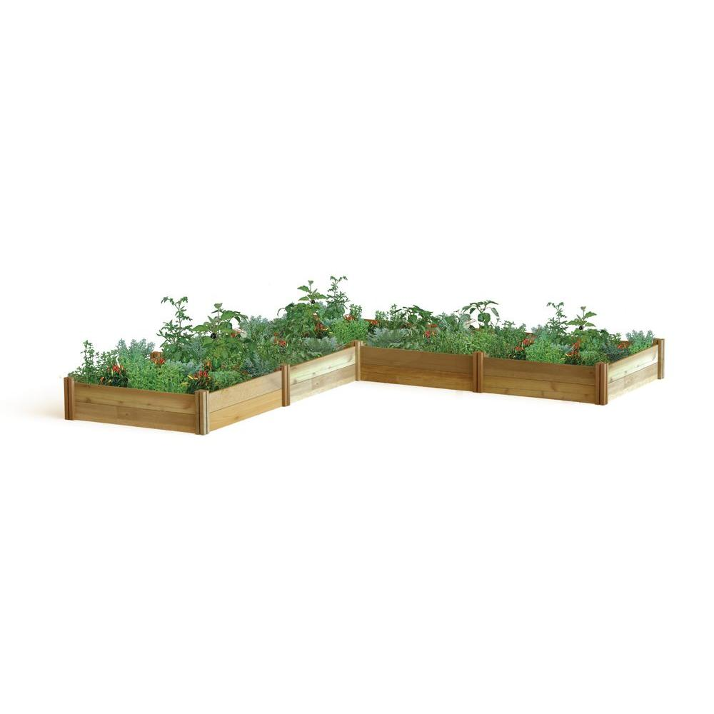 """Gronomics 142 in. x 142 in. x 13 in. """"L"""" Shaped Modular Raised Garden Bed"""