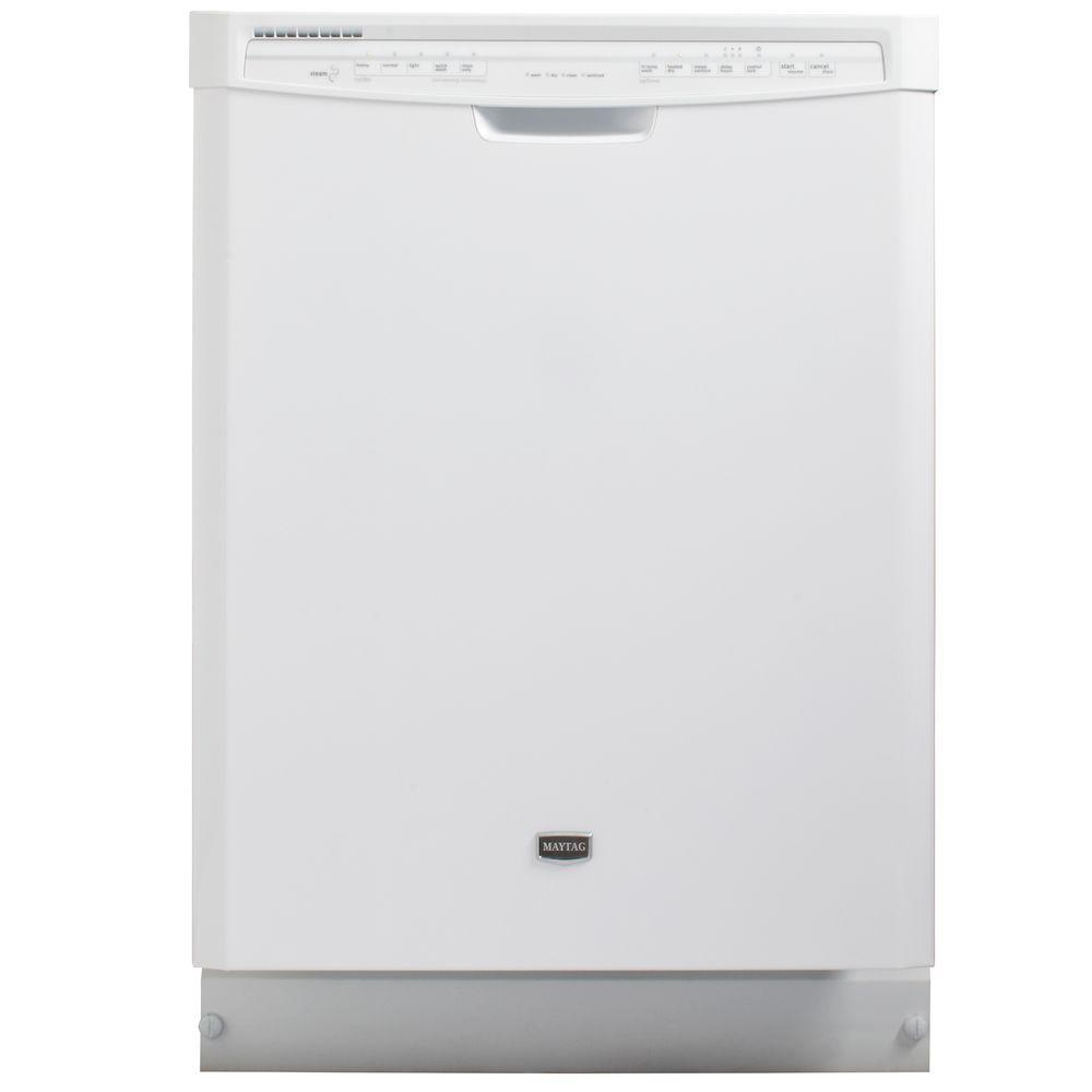Maytag JetClean Plus Front Control Dishwasher in White with Steam Cleaning