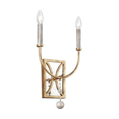 Marielle 2-Light Antique Gild Sconce with Wood Beads and Gold Leaf Accents