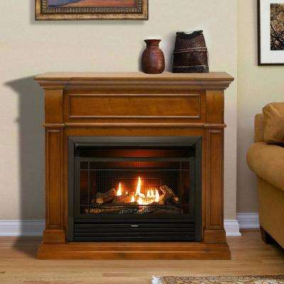 44 in. Ventless Dual Fuel Gas Fireplace in Apple Spice with Thermostat Control